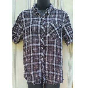Grey Button-up Plaid Shirt with Pocket